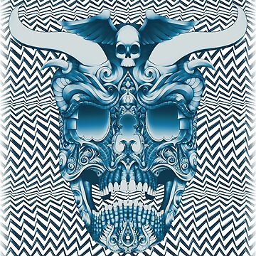 horn skull evil devil optical illusion blue concert punk metal  by DooodleGod