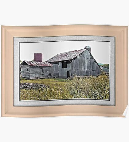 """""""Nostalgic Old Barn, the Back Side"""" ...with a matted and framed presentation, for prints and products  Poster"""