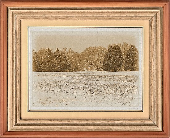 """Wide Country Christmas"" ... with a matted and framed look, for prints and products by Bob Hall©"