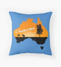 Sunset Australian Map Throw Pillow