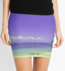 Palm Trees and Boats by a Sunny Sea Mini Skirt