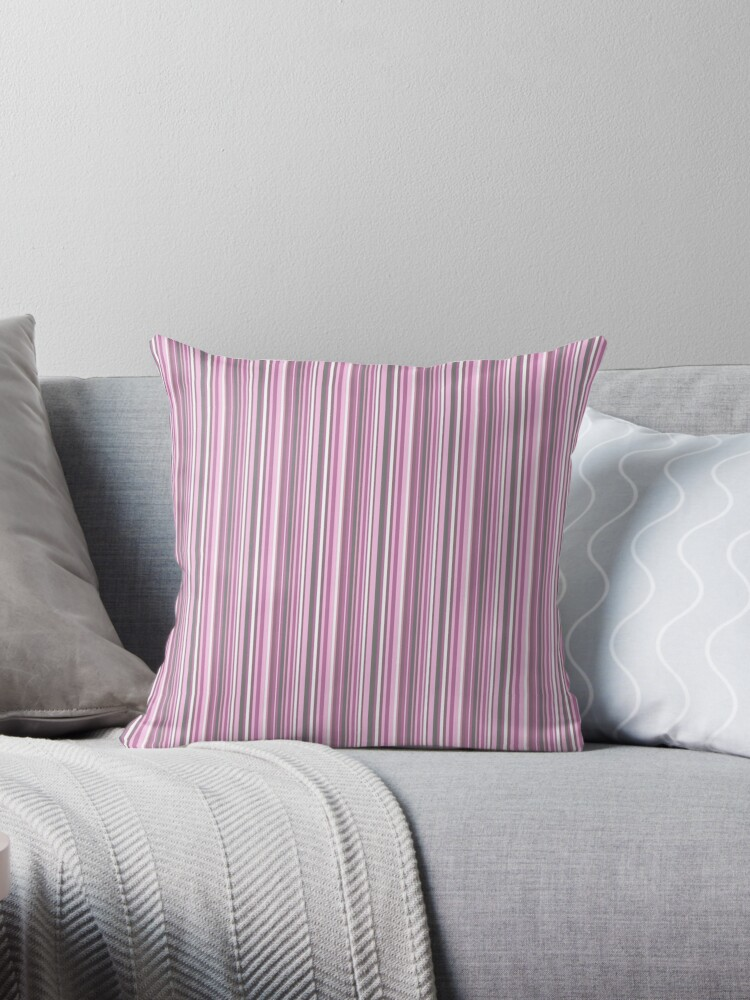 """Pink Couch Gray Living Room: """"gray And Pink Striped ."""" Throw Pillows By Marinaklykva"""