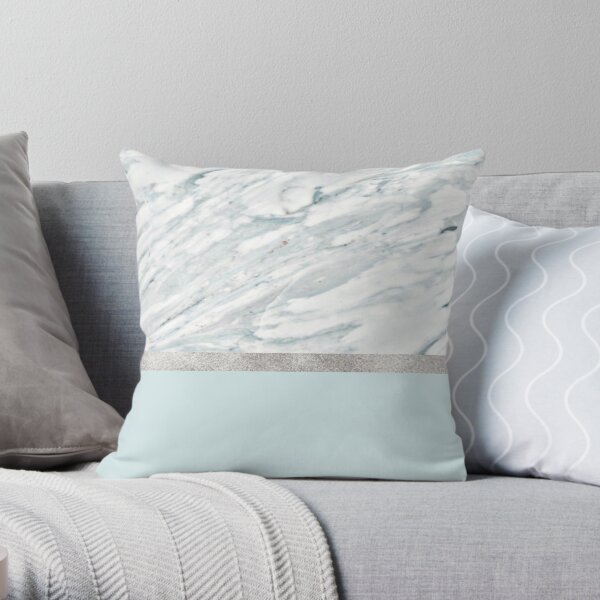 Calacatta verde - silver turquoise  Throw Pillow