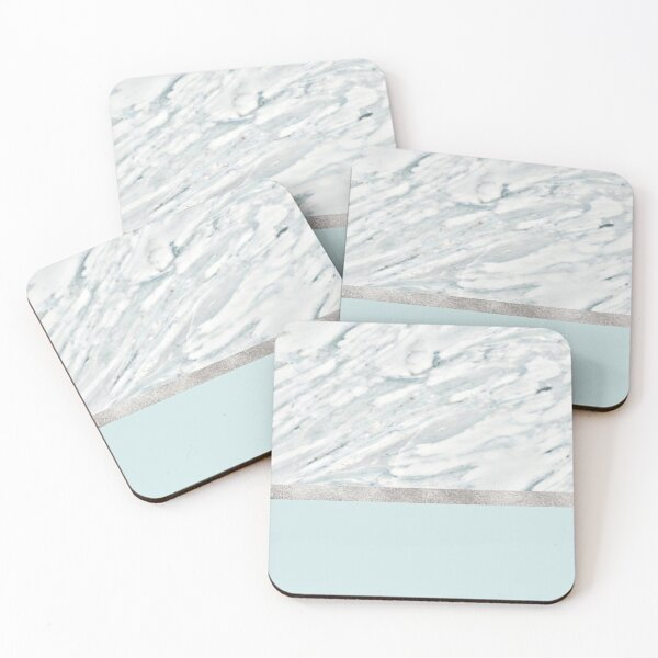 Calacatta verde - silver turquoise  Coasters (Set of 4)