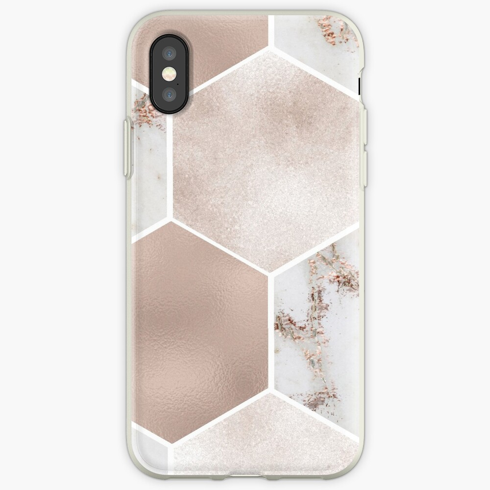 Artico Marmor Rose Gold Perle Sechsecke iPhone-Hülle & Cover