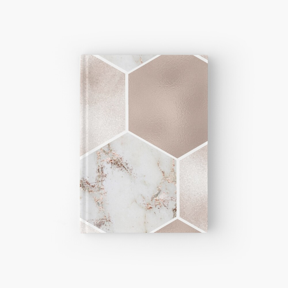 Artico Marmor Rose Gold Perle Sechsecke Notizbuch