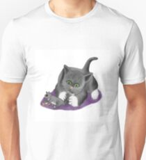 Squirrel and Kitten Play with a Peanut Unisex T-Shirt