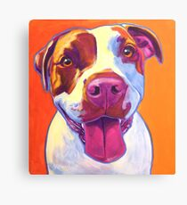 Happy Pit Bull - Slobbery Smiling Colorful Pitbull Dog Canvas Print