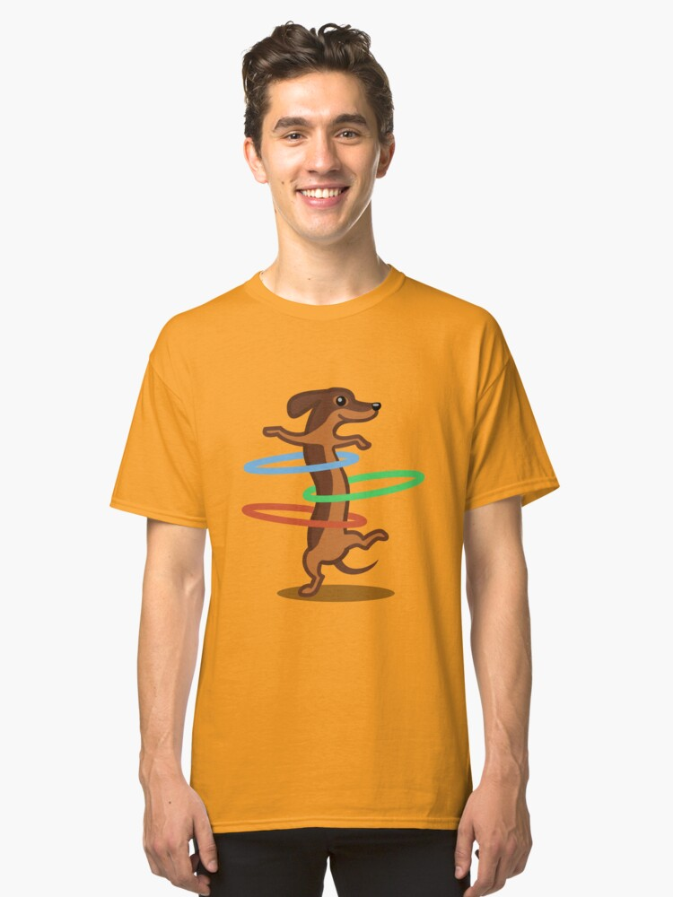 Alternate view of Funny Dachshund HulahoopTshirt - Dog Gifts for Doxie and Sausage Dog Lovers Classic T-Shirt
