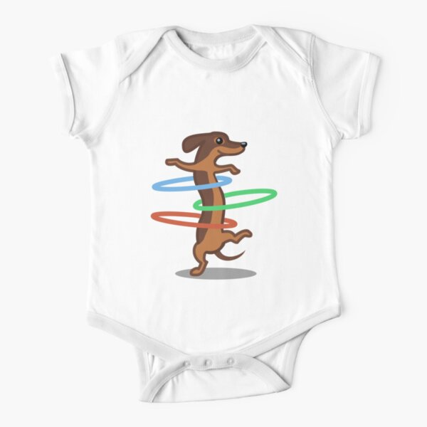 Funny Dachshund HulahoopTshirt - Dog Gifts for Doxie and Sausage Dog Lovers Short Sleeve Baby One-Piece