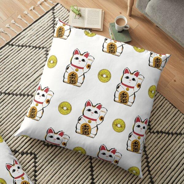 maneki neko 5 yen lucky cat Floor Pillow