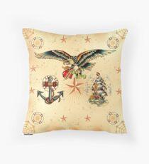 Tattoo eagle anchor ship Sailor Throw Pillow