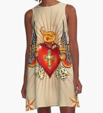 Tattoo Swallows with heart A-Line Dress