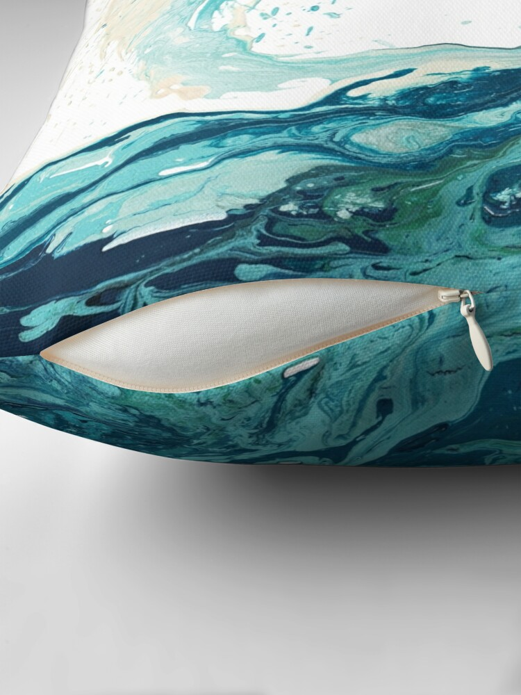 Alternate view of Ocean Wave Art Print Picture - Turquoise Sea Surf Beach Decor  Throw Pillow
