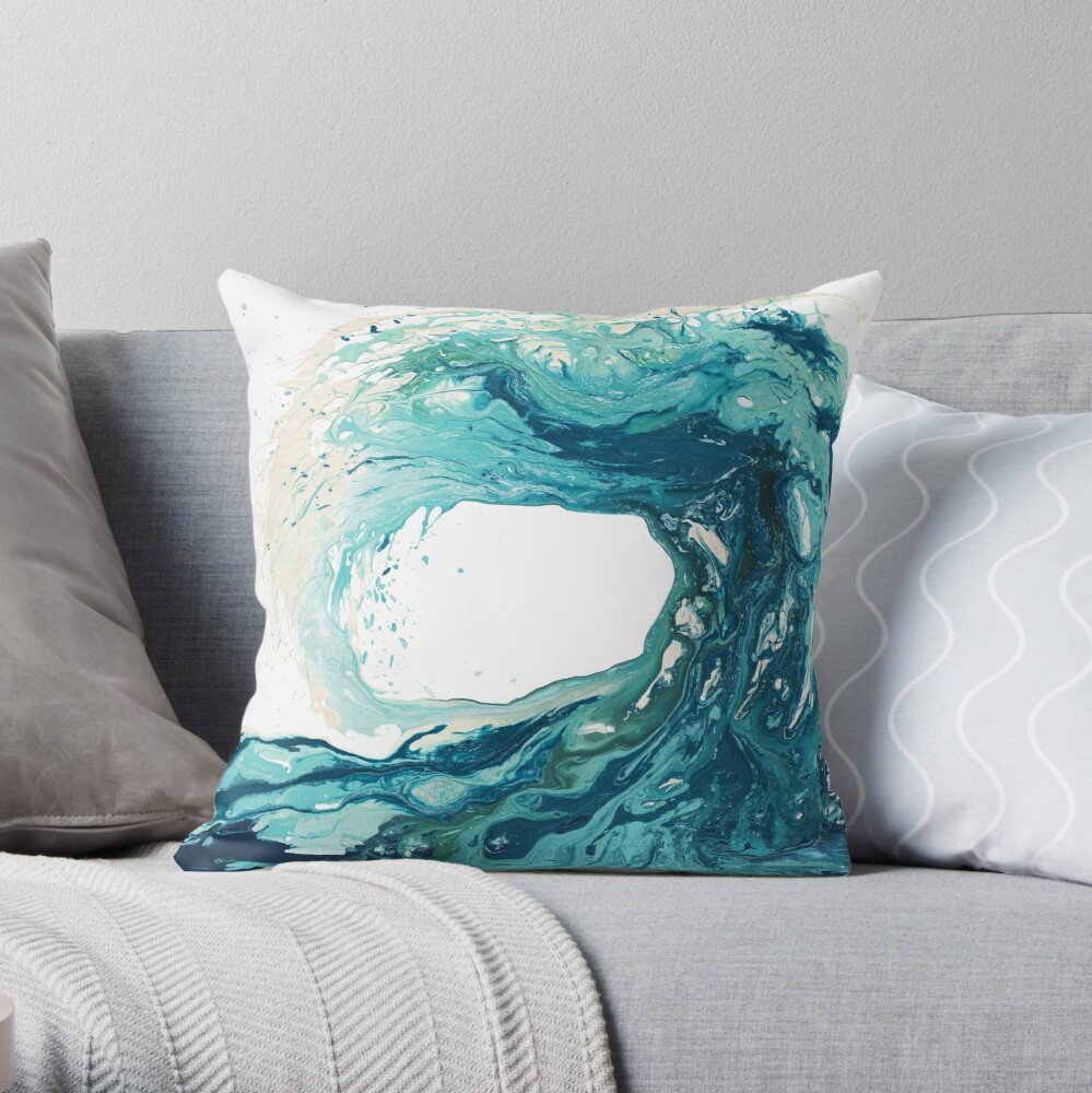 Ocean Wave Art Print Picture - Turquoise Sea Surf Beach Decor  Throw Pillow
