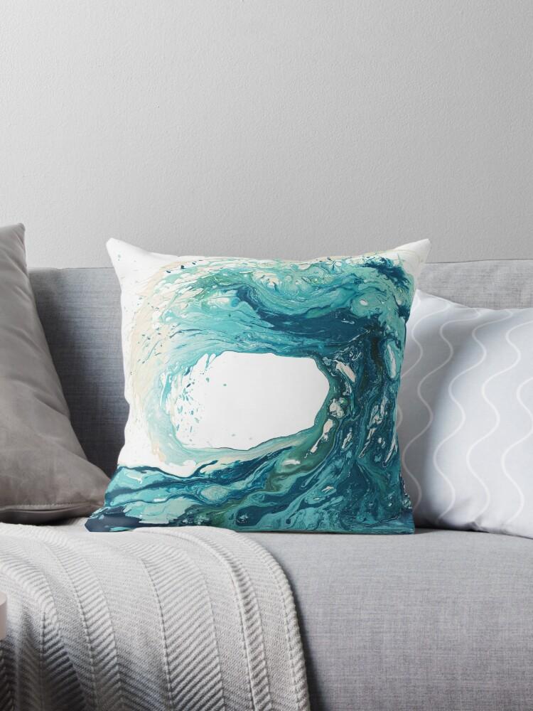Ocean Wave Art Print Picture Turquoise Sea Surf Beach Decor Throw Pillow By Kateshephard Redbubble