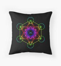 Rainbow Metatron's Cube Sacred Geometry Floor Pillow