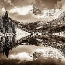 Colorados Maroon Bells Mountain Landscape Reflections in Sepia by Gregory Ballos