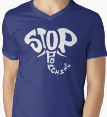 Stop Poaching Elephant: White Men's V-Neck T-Shirt