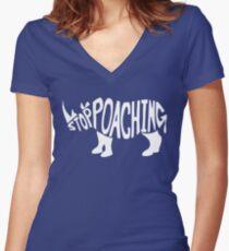 Stop Poaching Rhino: White Women's Fitted V-Neck T-Shirt