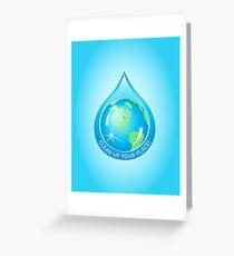 Globe in Water Drop Greeting Card