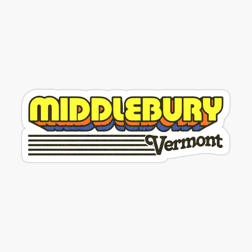 Middlebury, Vermont   Retro Stripes Sticker