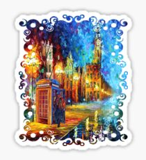 Sherlock in red phone booth with big ben rainbow abstraction  Sticker