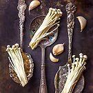 Still life with Enoki, Garlic and Spoons by alan shapiro