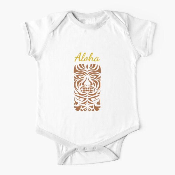 Aloha, Tiki Man - Hawaii Tiki Big Kahuna Short Sleeve Baby One-Piece