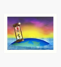 Hourglass with Rose Art Print