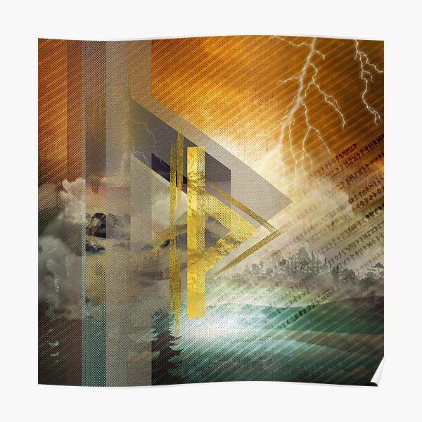 Thurisaz  Rune Digital Art composition Poster