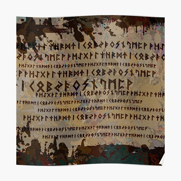 Runic alphabet pattern Poster