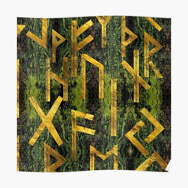Vintage Gold Runic alphabet on tree bark Poster