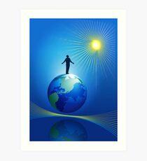 Man On Globe Art Print