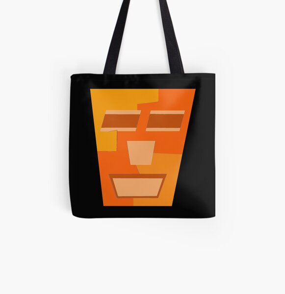 Orange Tripod (Facemadics abstract face colorful contemporary) All Over Print Tote Bag