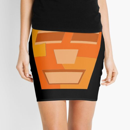 Orange Tripod (Facemadics abstract face colorful contemporary) Mini Skirt