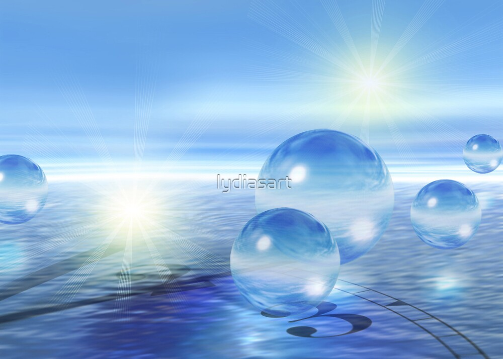 3-d Spheres Above the Water by lydiasart