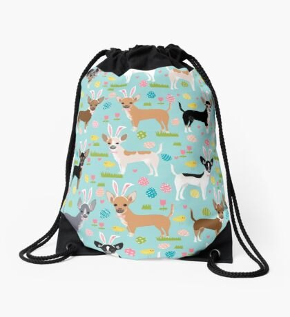 Chihuahua dog breed easter bunny spring easter eggs dog pattern gifts chihuahuas Drawstring Bag