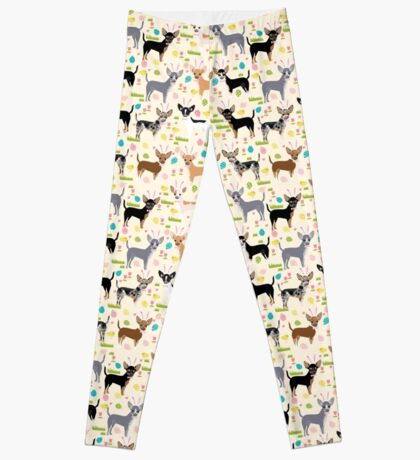 Chihuahua dog breed easter bunny spring easter eggs dog pattern gifts chihuahuas Leggings