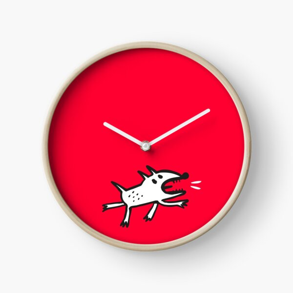 Angry Dog in Red Clock