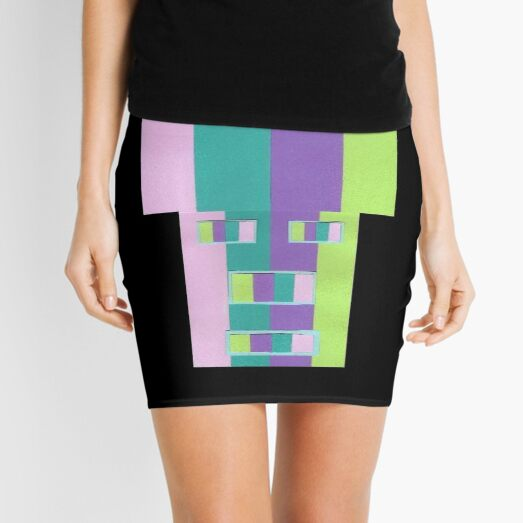 Rainrow Fro (Facemadics abstract face colorful contemporary) Mini Skirt