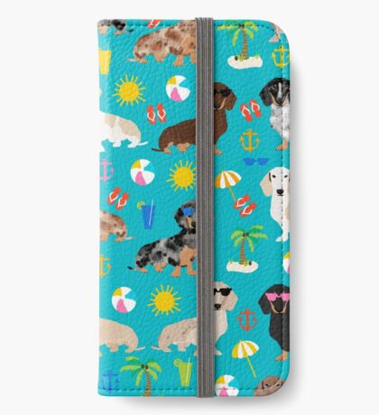 Dachshunds beach summer tropical vacation weener dogs doxie gifts iPhone Wallet