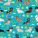 Dachshunds beach summer tropical vacation weener dogs doxie gifts by PetFriendly