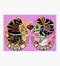 Tattoo Oldschool LOVE HURTS Photographic Print