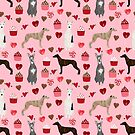 Whippet valentines day cupcakes love hearts dog breed pet portrait whippets pure breed dog gifts by PetFriendly