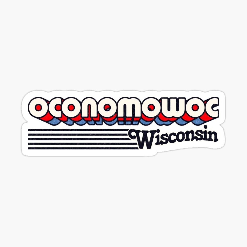 Oconomowoc, Wisconsin | Retro Stripes Sticker