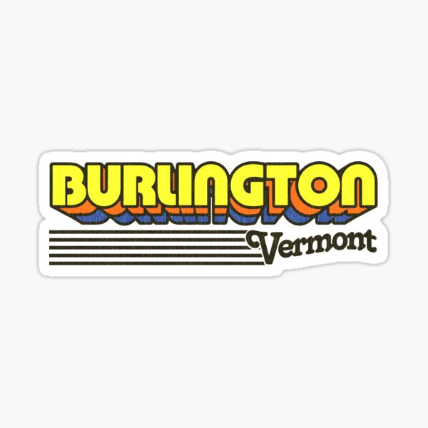 Burlington, Vermont | Retro Stripes Sticker
