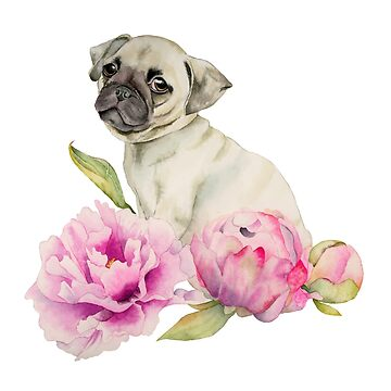 Pug and Peonies | Watercolor Illustration by namibear