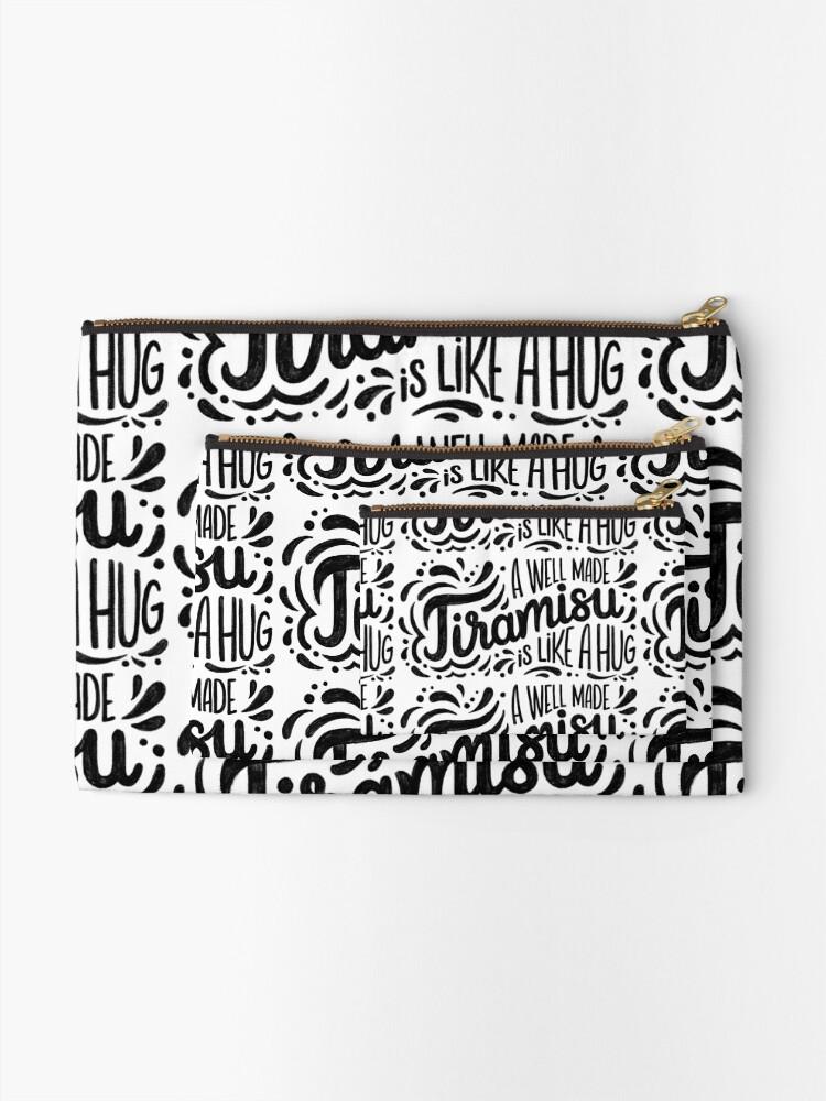 Alternate view of Tiramisu is like a hug - Hand calligraphy art Zipper Pouch