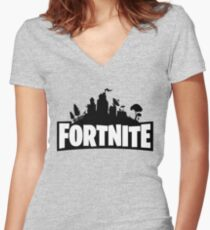 #Fortnite Women's Fitted V-Neck T-Shirt